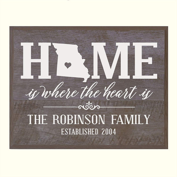 Personalized Missouri State Home is Where the heart is Sign