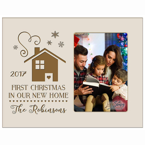 Personalized Home Christmas Photo Frame Holds 4x6 Photograph