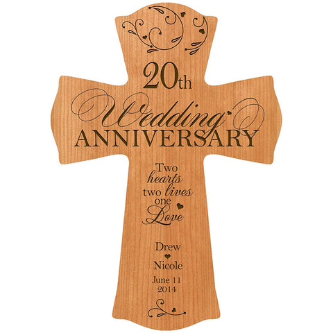 Personalized 20th Wedding Anniversary Wall Cross -Two Hearts Two Lives