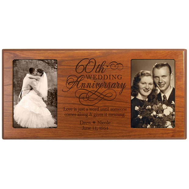 Personalized 60th Anniversary Double Picture Frame - Love Is Just Cherry