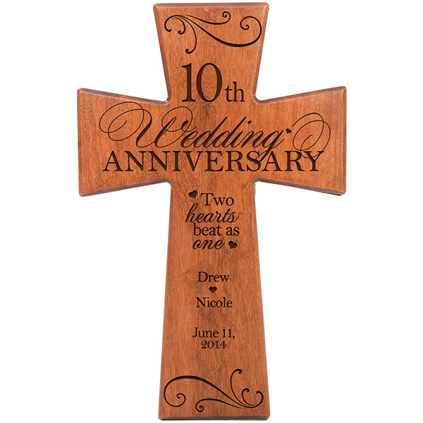 Personalized 10th Wedding Anniversary Cherry Wall Cross - Two Hearts