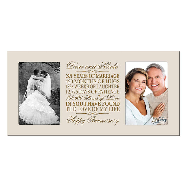 Personalized 35th Anniversary Double Photo Frame - Happy Anniversary Ivory