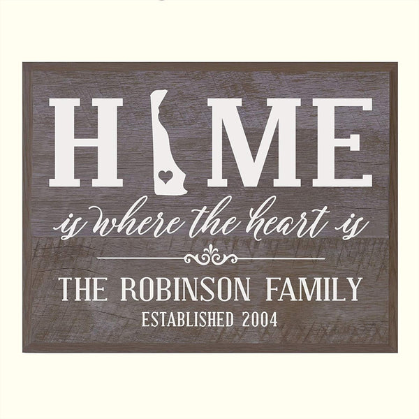 LifeSong Milestones Personalized Delaware State Home is Where the heart is Wall plaque with Family last Name and Year Established Housewarming gift by
