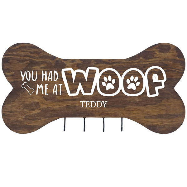"Personalized You Had Me at Woof Wall Mounted Dog Bone Pet Leash Rack,Dog Collar Holder New Home Decor Gift ideas and 4 hooks 16"" L x 8"" H 2.5."" deep by Rooms Organized (Walnut Stain)"