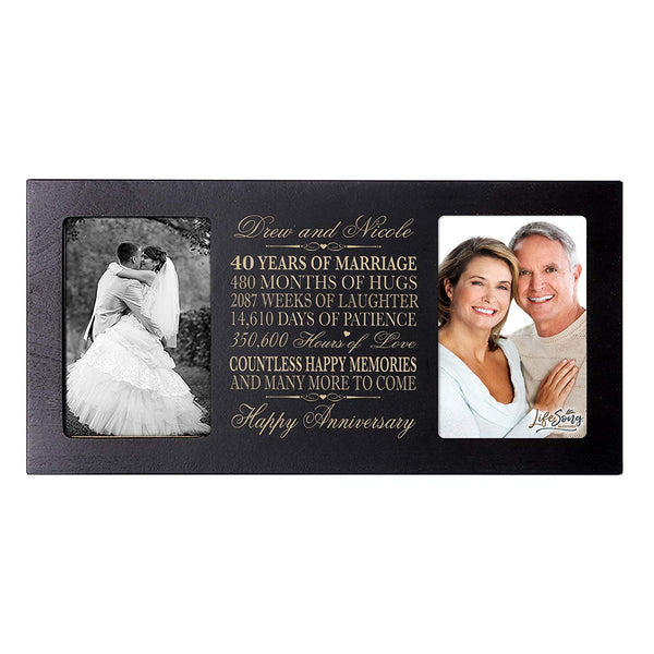 Personalized 40 year anniversary gift her him couple Custom Engraved wedding celebration for Husband wife girlfriend boyfriend photo frame holds two 4x6 photos by LifeSong Milestones