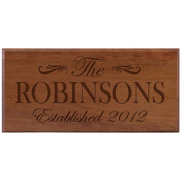 Personalized Home Wall Sign - Family Name Cherry Solid