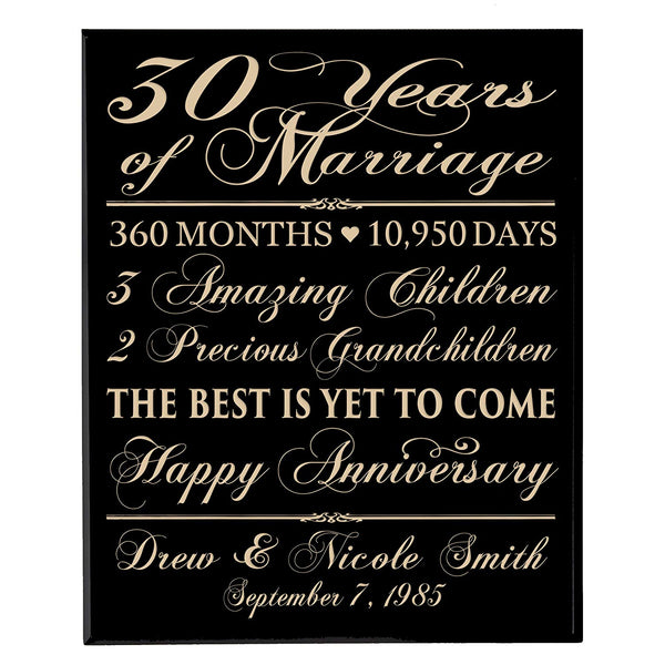 "LifeSong Milestones Personalized 30th Anniversary Gifts for him her Couple parents, Custom Made 30 year Anniversary Gifts ideas Wall Plaque 12"" x 15"""