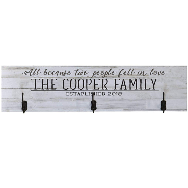 LifeSong Milestones Personalized All Because Two People Fell In Love Family Established Wall Signs Last Name for home Wedding, Anniversary, Living Room, Entryway, Kitchen