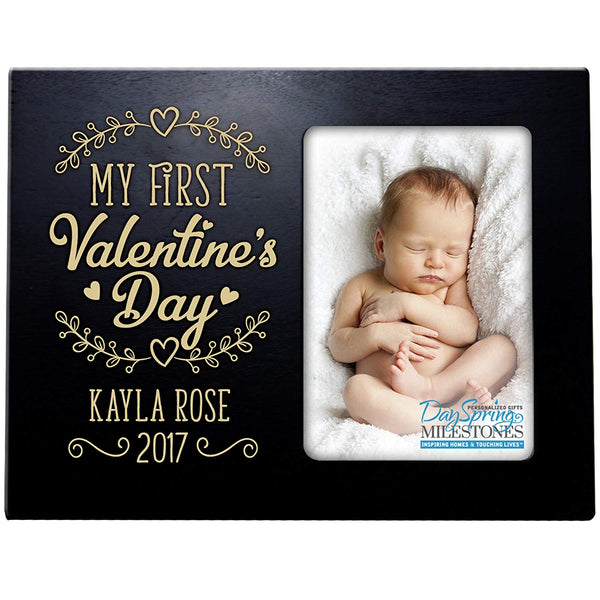 Personalized Valentine's Day Photo Frame Gift Custom Engraved ideas for couple MY FIRST VALENTINES DAY Frame holds 4 x 6 picture