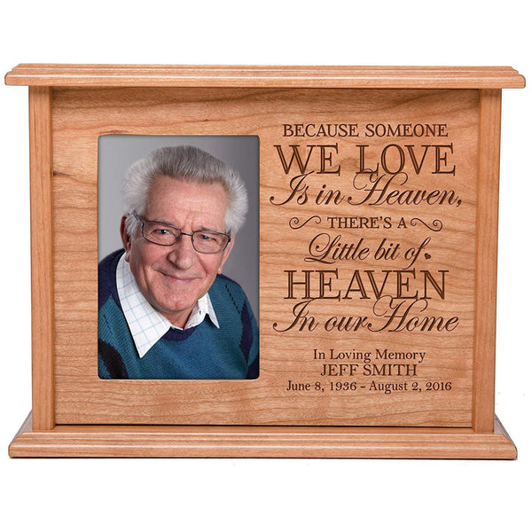 Cremation Urns for Human Ashes Memorial Keepsake box for cremains, personalized Urn for adults and children ashes BECAUSE SOMEONE WE LOVE IS IN HEAVEN SMALL portion of ashes holds 4x6 photo holds