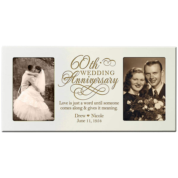 Personalized 60th Anniversary Double Picture Frame - Love Is Just A Word Ivory