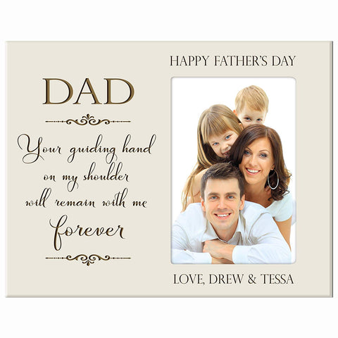 Personalized Happy Fathers Day Engraved Picture Frame - Guiding Hand Ivory