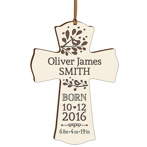 Personalized New Baby birth shower announcement gift ideas for newborn boys and girls Custom engraved wall cross ornament for new mom and dad and grandparents (White)