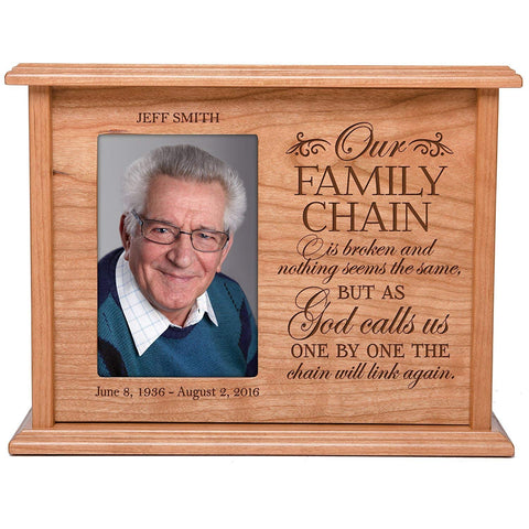 Cremation Urns for Human Ashes Memorial Keepsake box for cremains, personalized Urn for adults and children ashes Our FAMILY CHAIN is broken- SMALL portion of ashes holds 4x6 photo holds