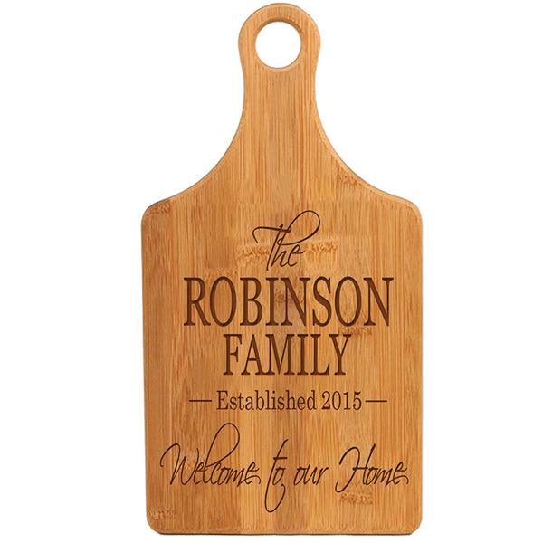 Personalized Bamboo Family Name Cutting Board - Welcome