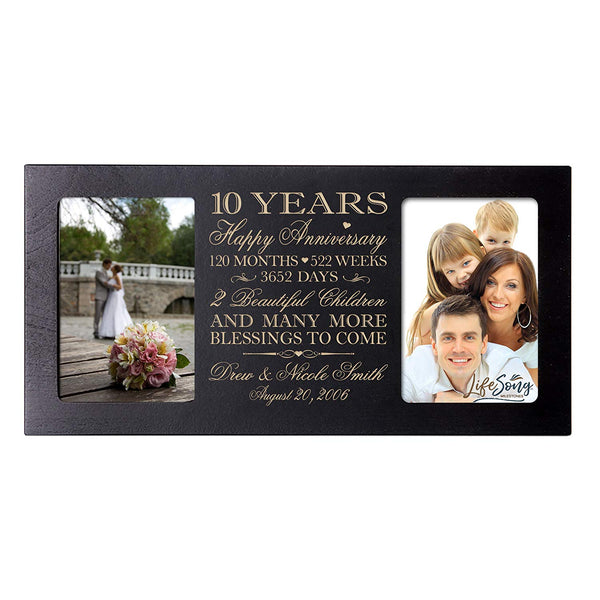 Personalized 10 Year Anniversary gift her him couple Custom Engraved wedding celebration for Husband wife girlfriend boyfriend photo frame holds two 4x6 photos by LifeSong Milestones