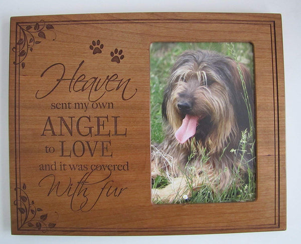 Pet Memorial Photo Frame with Paw Prints, Sympathy Pet Picture Frame Heaven Sent My Own Angle to Love and It Was Covered in Fur 10 Inches High X 8 Inches Wide By LifeSong Milestones