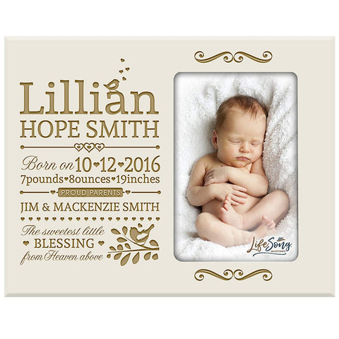 Personalized New Baby birth announcement picture frame for newborn boys and girls Custom engraved photo frame for new mom and dad parents and grandparents (Ivory)