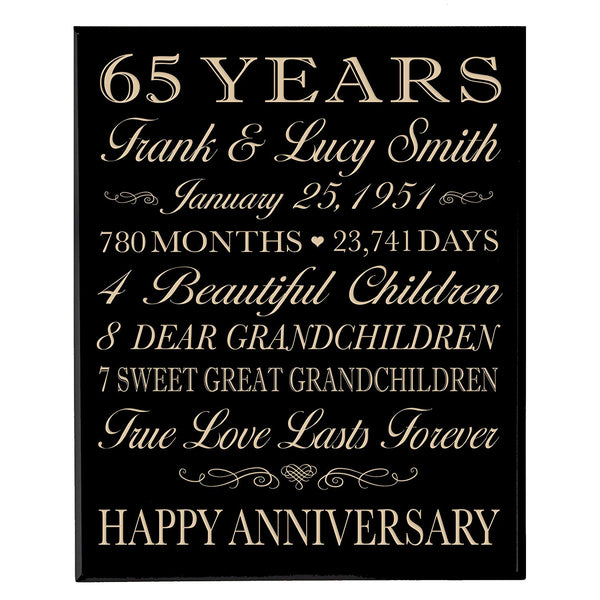 Personalized 65th Anniversary Wall Plaque - True Love Lasts Forever Black Solid