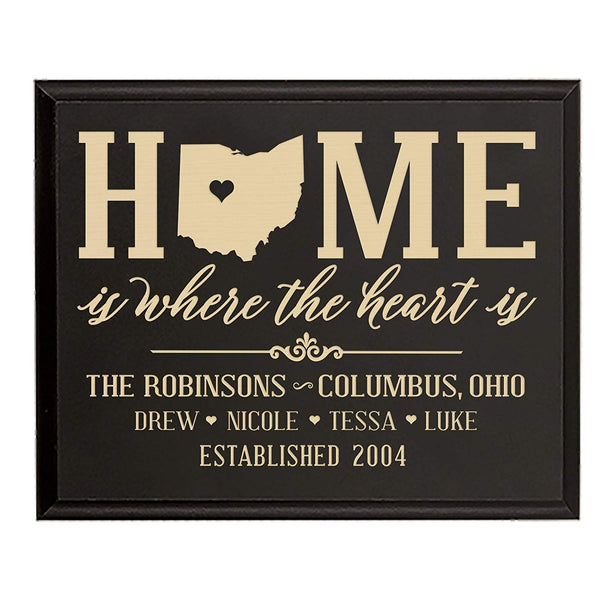 Personalized State Home is Where the heart is picture frame with Family last Name and Year Established with Children's name Best Friends Frame Holds wall plaque 9x12 by LifeSong Milestones