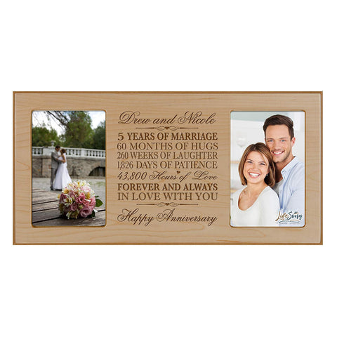 Personalized 5th Anniversary Double Photo Frame - Happy Anniversary Maple
