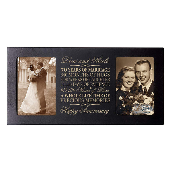 Personalized 70 year anniversary gift her him couple Custom Engraved wedding celebration for Husband wife girlfriend boyfriend photo frame holds two 4x6 photos by LifeSong Milestones