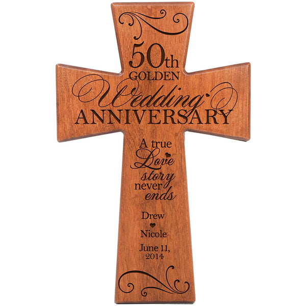 Personalized 50th Wedding Anniversary Cherry Wall Cross - Love Story