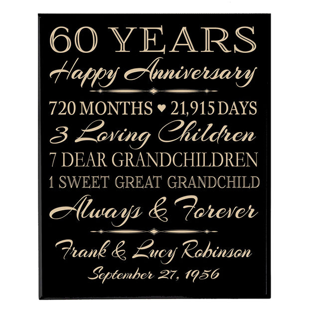 Personalized 60th Anniversary Wall Plaque - True Love Lasts Forever Black Solid