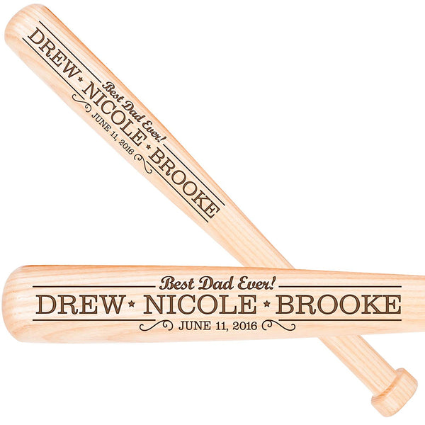 Personalized Engraved Baseball Bat for Dad - Best Dad Ever