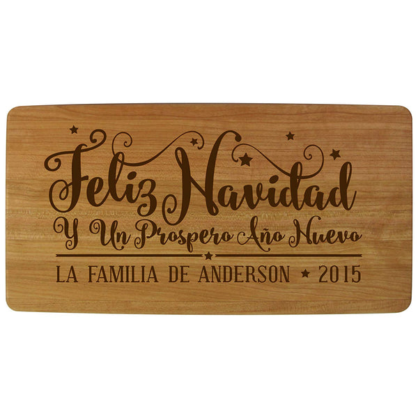 "Personalized Christmas Solid Cherry Wood Cutting Boards Customized in Spanish Feliz Navidad with Family Name and Year Established Housewarming Gifts 11.75"" L X 6"" W X .75 By LifeSong Milestones"