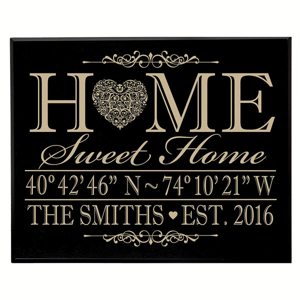 Personalized Home Coordinates Latitude/Longitude Wall Plaque - Family Last Name and Date Established, Home Sweet Home (Dark Distressed)