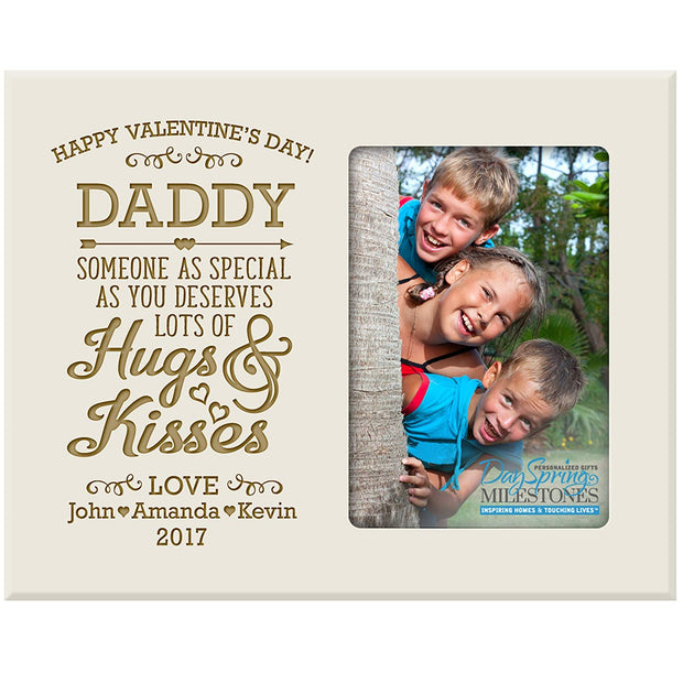 daddy hugs & kisses valentine's day photo frame picture ivory