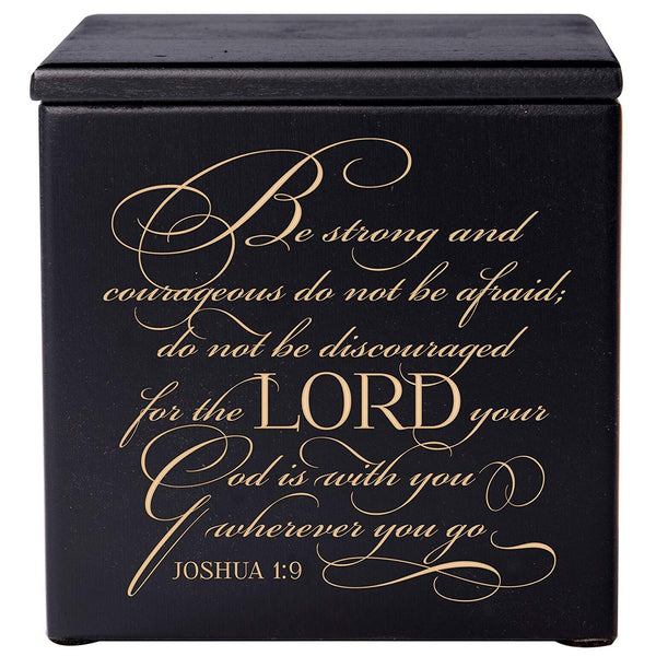 Cremation Urns for Human ashes - Funeral Urn small Keepsake box for Pets - Memorial Gift for home or Columbarium Niche Engraved Verse Be Strong and courageous Joshua 1:9 by LifeSong Milestones