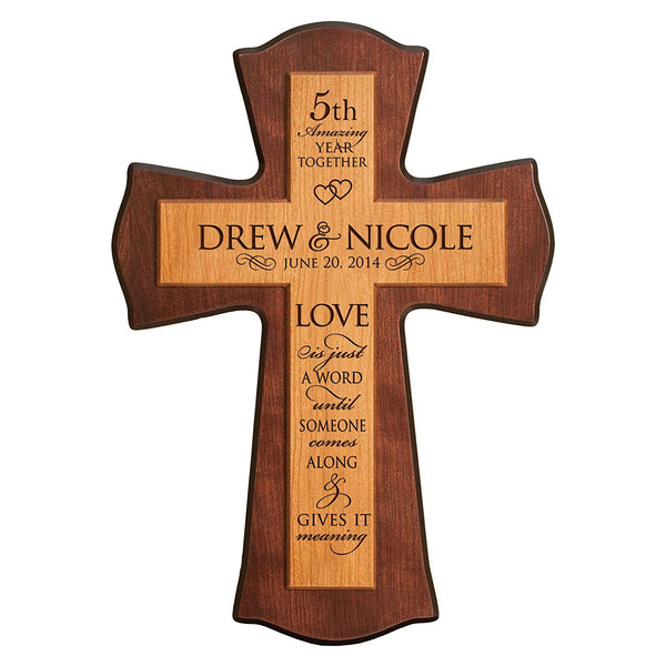 "Personalized 5th Wedding Anniversary wall cross for him her Custom 5 year housewarming gift for couple Life Is Not Measured By the Number of Breaths We Take for Wall or Desktop (12"" W X 17"" H)"