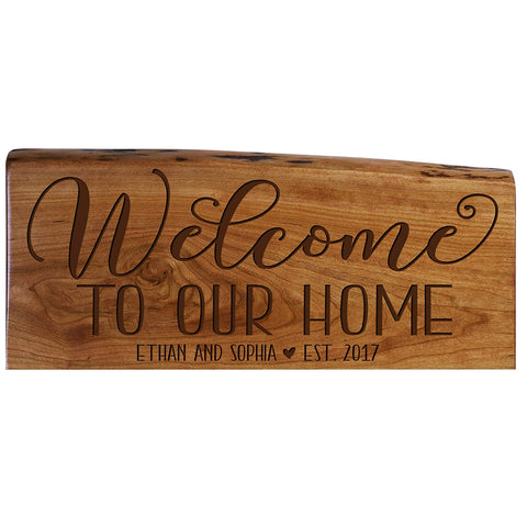 Personalized Solid Cherry Wood Welcome Wall Plaque with Name and Year