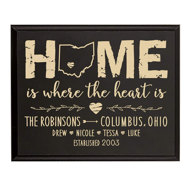 Personalized State Home is Where the heart is Wall plaque with Family last Name and Year Established with Children's name Housewarming gift by LifeSong Milestones (Black)