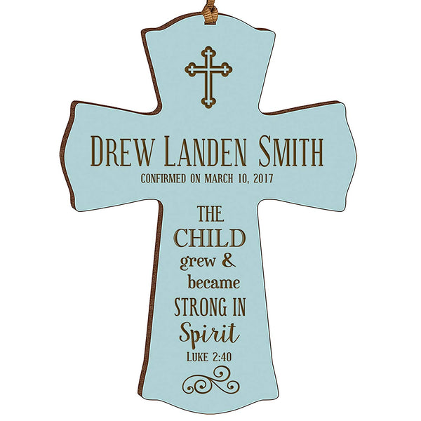 Personalized Baptism 1st Holy Communion Christening Gifts Custom Wall Cross The CHILD grew & became STRONG IN Spirit LUKE 2:40 Pine wood cross by LifeSong Milestones