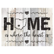 Personalized Home Is Where The Heart Is Distressed Wall Plaque - Ohio Light Distressed Unfilled Ohio
