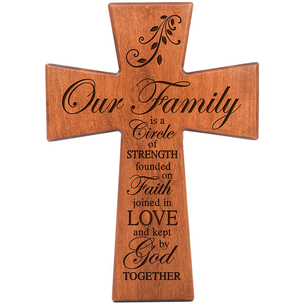 Our Family Is A Circle of Strength - Cherry Wood Wall Cross