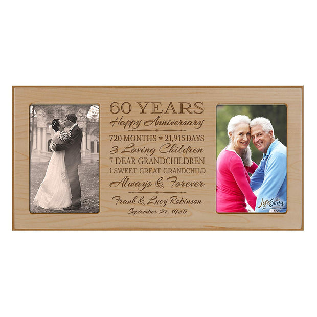Personalized 65th Year Anniversary Double Photo Frame Maple