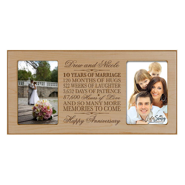 Personalized 10th Anniversary Double Photo Frame - Happy Anniversary Maple