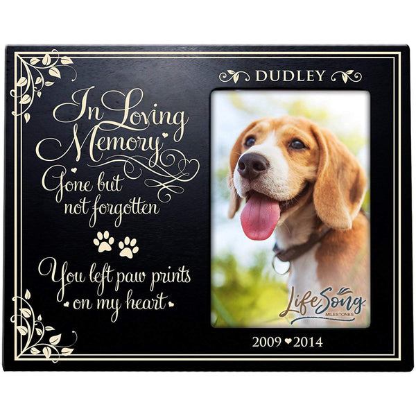 LifeSong Milestones Personalized Pet Memorial Sympathy Photo Frame, In Loving Memory Gone but Not Forgotten, Custom Frame Holds 4x6 Photo