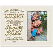 mommy hugs & kisses valentine's day photo frame picture ivory