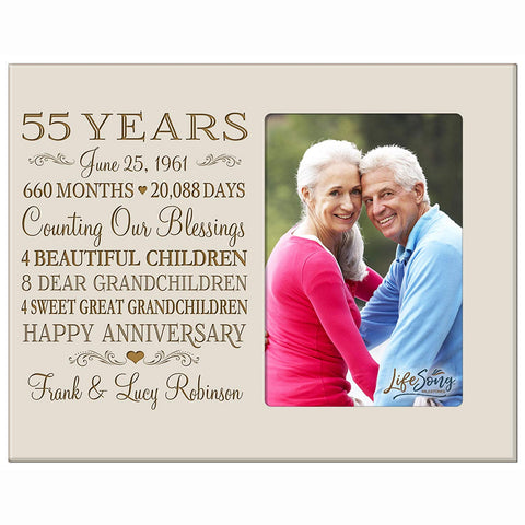 Personalized 55th Year Anniversary Photo Frame - Counting Our Blessings Ivory