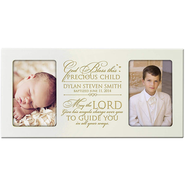 Personalized 1st Holy Communion Baptism Christening Picture Frame Engraved holds 2 -4x6 photos God Bless this Precious Child May the Lord gives his angels charge over you to guide you in all your ways