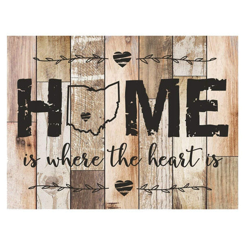Personalized Home Is Where The Heart Is Distressed Wall Plaque - Ohio Dark Distressed Unfilled Ohio