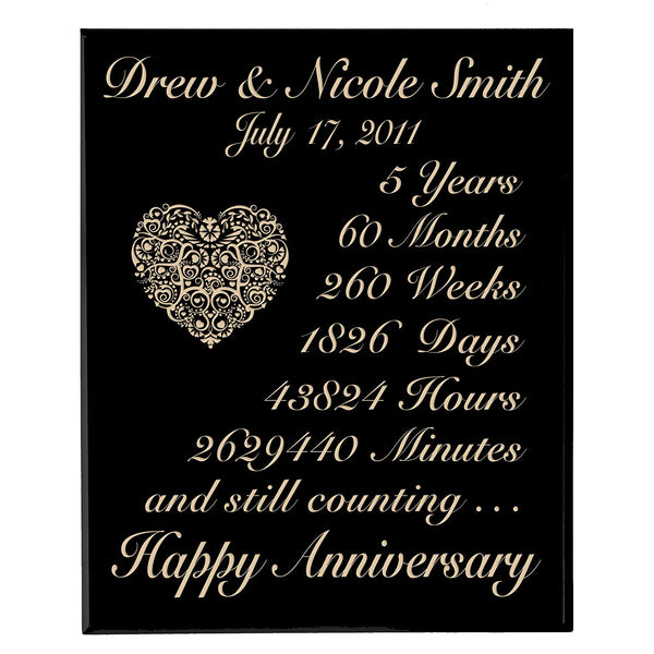 Personalized 5th Wedding Anniversary Wall Plaque Gifts for Couple,Custom Made 5 year Anniversary gift ideas for Her, 5th year Wedding Anniversary Gifts for Him By LifeSong Milestones