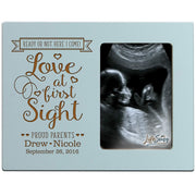 Personalized New Baby Sonogram Photo Frames - Love At First Sight Blue