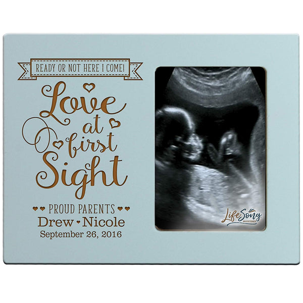 Personalized New Baby Sonogram picture frame for boys and girls Love at first sight Custom engraved Ultrasound photo frame for new parents nana,mimi and grandparents