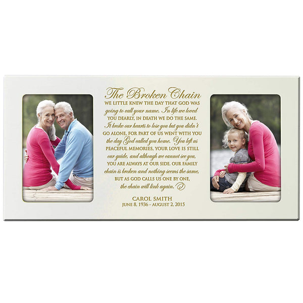 The Broken Chain Poem Personalized Custom Photo Frame Holds 2 4x6 pictures (Ivory )